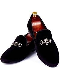Calavera Hebilla Hombres Vestido Zapatos Loafers de Terciopelo Hecho a Mano