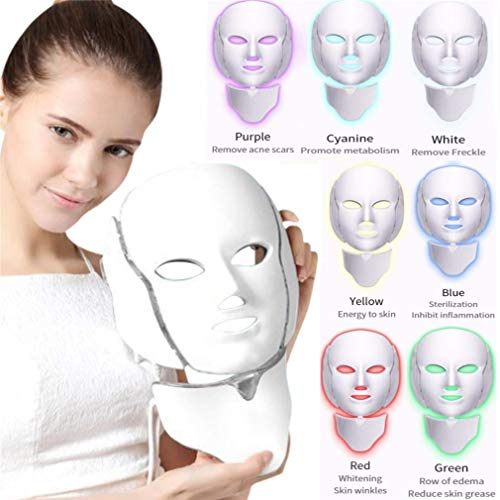 LED Photon Mask Beauty Instrument, 7 Farben LED-Lichttherapie-System Gesichtspflege/Gesichts- und Hals-Schönheits-Ausrüstung für Hautverjüngung/Aufhellung/Faltenbehandlung - Aufhellung System