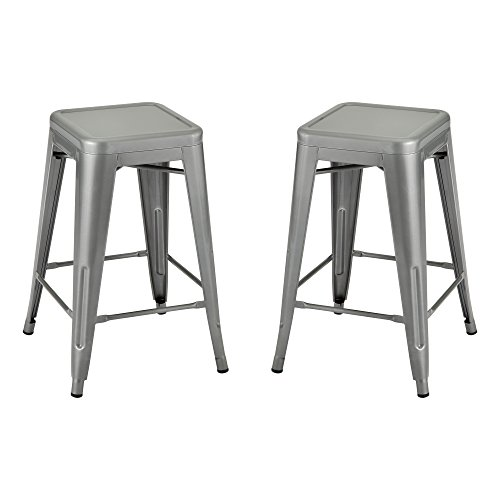 School Outfitters NOR-IAH3022-S-2-SO Norwood Commercial Furniture Metal Stack Stool, Silver (Pack of 2) -