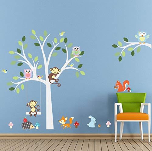 Weiß Baum Wandaufkleber Fuchs Eulen Affe Schlaf Schaukel Für Kinder Kinderzimmer Vögel Wandtattoo Vinyl Aufkleber Kinderzimmer Dekor - Weiss Vinyl Jalousie
