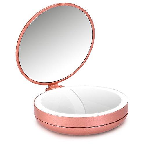 Navaris LED Taschenspiegel Kosmetikspiegel Schminkspiegel - Spiegel mit 5fach Vergrößerung...