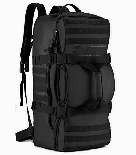 Tactical MOLLE Multifunctional Travel Luggage Duffle Bag Assault SLR Cameras Backpack Luggage Duffle Carry On Bag Shoulder Camping Outdoor Sports, Black