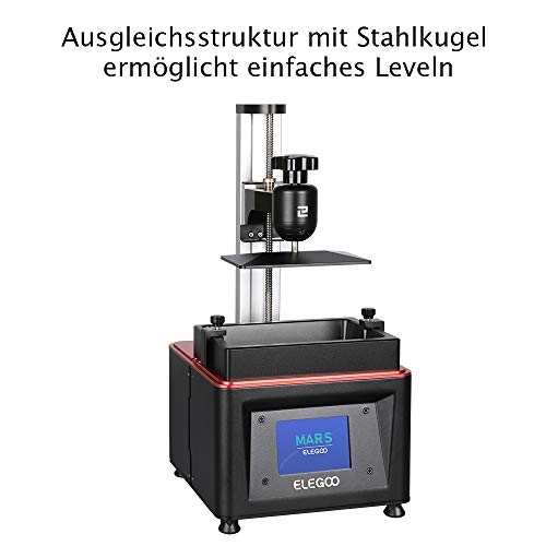 ELEGOO MARS UV LCD 3D Drucker mit 3,5 Zoll Smart Farbtouchscreen Offline-Drucken Druckbereich von 4.72″(L) x 2.68″(W) x 6.1″(H) (Schwarz) - 3