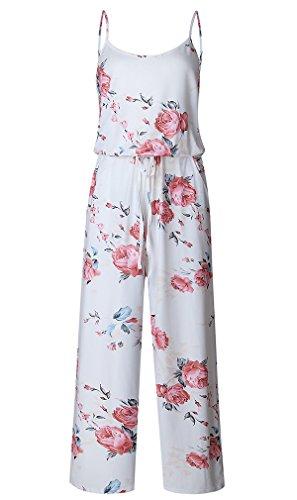 Damen Elegant Blumendrucke Jumpsuit playsuit ärmellos Lose Party Overall Hosenanzug Romper Sommerhose Strand Hose Weiß