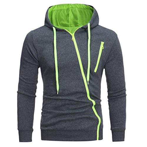 IMJONO Herren Sweatshirt Männer Langarm Hoodie Kapuzen Tops Jacke Mantel Outwear(EU-46/CN-L,Grün)