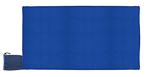 Sunland Cooling Towel Attached Pouch Bag 80cm X 150cm Stay Cool for Sports Outdoor Camping Hiking Personal Care, Dark Blue