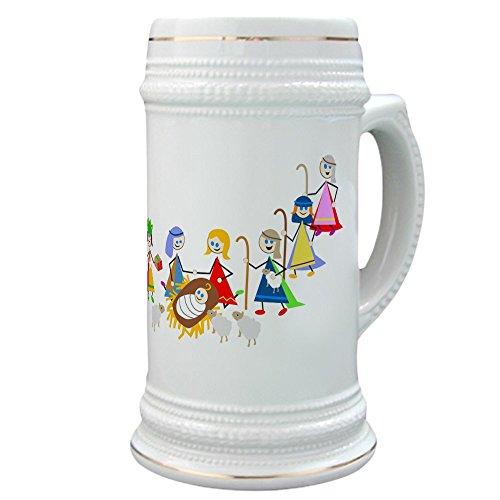 CafePress Bierkrug mit Krippenmotiv, 625 ml Keramik-Trinkbecher (Baby Garnelen Kostüm)
