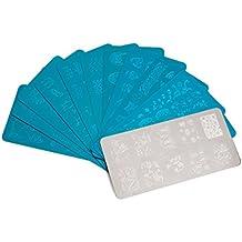 LEORX Uñas arte estampado uñas arte manicura sellado imagen placa plantillas - paquete de 10 (plata)