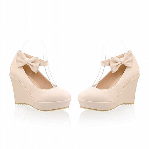 Mee Shoes Damen modern süß populär runder toe ankle strap mit Schleife Schnalle Keilabsatz Geschlossen Pumps Beige