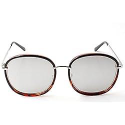 Accessoryo - Abgerundete Schildkrötenschalen-Rahmen-Sonnenbrille mit silbernen verspiegelten Linsen