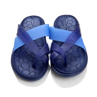 Uomo Slippers & Estate laccio dietro gomma casuale piani del tallone sandali blu neri sandali US8 / EU40 / UK7 / CN41