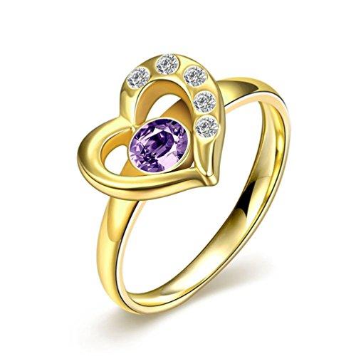 HMILYDYK Ariel-Anello di fidanzamento in acciaio INOX con Zirconia cubica, a forma di cuore, ideale (Oro Giallo Mens Wedding Band)