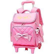 f69c80cff Mochila Escolar Trolley Chicas - Encantador Estilo Princesa Bookbag con  Ruedas Bolsa de Hombro Bolsillos Múltiples