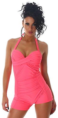 P.F. Damen Neckholder-Badeanzug einfarbig im eleganten Design Apricot