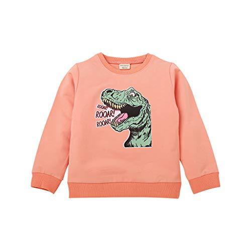 en Mädchen Cartoon Dinosaurier Brief Tops Sweatshirt Outwear Pullover ()