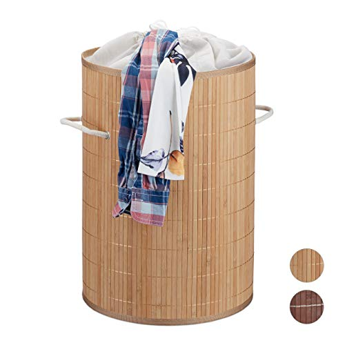 Relaxdays Cesto Ropa Sucia de Bambú, Beige, 40 litros