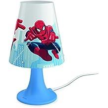Philips Marvel Spiderman - Lámpara de mesa portátil, luz blanca cálida, bombilla LED de 2,3 W, color azul
