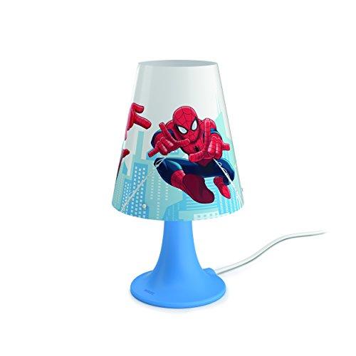 Philips-Marvel-Spiderman-Lmpara-de-mesa-porttil-luz-blanca-clida-bombilla-LED-de-23-W-color-azul