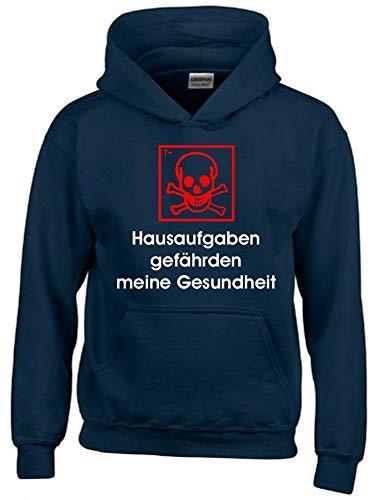 Hausaufgaben gefährden Meine Gesundheit ! Hoodie Sweatshirt mit Kapuze Navy-rot Gr.140 cm