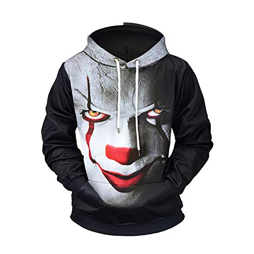 GXYCP Sweatshirt Für Männer Halloween Hoodie 3D Drucken Teufel Clown Pullover Locker Fett Casual Top,M - Drucken Clown