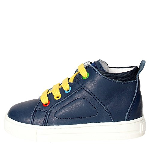 FALCOTTO - Sneaker stringata blu in pelle, lacci gialli, occhielli colorati, logo posteriore e sulla linguetta, cuciture a vista e suola in gomma, Bambino, Ragazzo-23