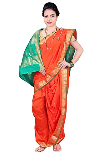 Bhartiya Vastra Bhandar Women's Ready to wear Nauvari Saree(DNoA2_Orange_Orange_FreeSize)