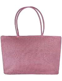 QUICKLYLY Bolsa Playa de Lona Mujer Grande Bolso de Mano Shopper Bolsa con Cremallera Paja Bolsa