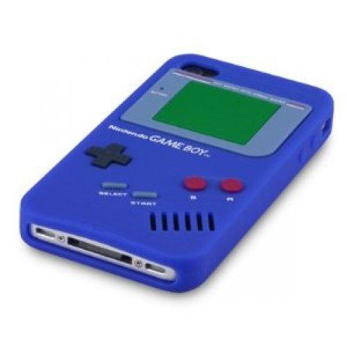 OBiDi - 3D Gameboy Coque en Silicone / Housse pour Apple iPhone 4S / Apple iPhone 4 - Blanc Bleu