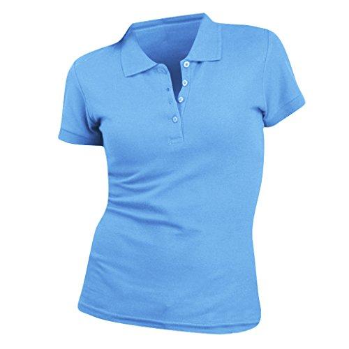 SOLS People - Polo 100% coton à manches courtes - Femme Bleu ciel