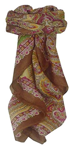Traditional Maulbeereseide Quadratischer Tuch Madras Brown von Pashmina & Silk Madras Wrap