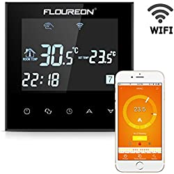 FLOUREON Termóstato del Wi-Fi de Termóstato elegante de la habitación Termostato del radiador Termóstato de la calefacción, Control de la calefacción de Digitaces Programable con la pantalla LCD táctil