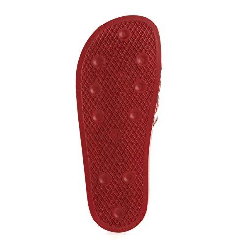 adidas Adilette, Chaussures de Plage et Piscine Mixte Adulte, 42 EU Rouge - Blanc