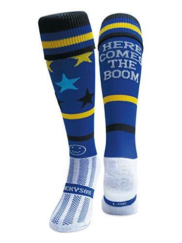 WackySox Here Comes The Boom Blue Sports Socks