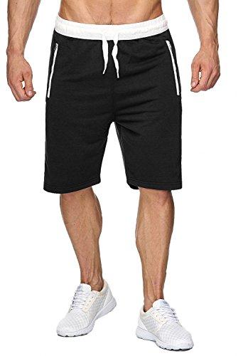EGOMAXX Herren Sweat Shorts Kurze Jogging Hose Bermuda Sporthose H1927, Farben:Schwarz, Größe Shorts:XL - Kurz Herren Sporthose Größe