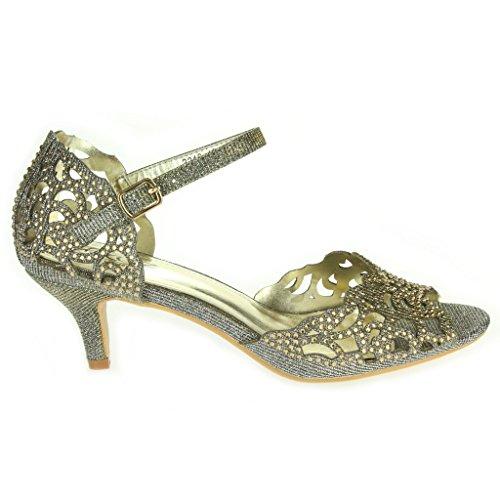 Frau Damen Offener Zeh Fesselriemen Diamante Mittlere Ferse Abend Party Hochzeit Sandale Schuhe Größe Zinn