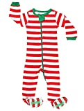 elowel Baby Boys Girls Footed Christmas Striped Pajama Sleeper Cotton Size 6M-5Y 12-18 Months