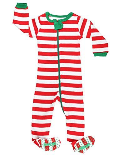 Elowel Unisex Baby Mädchen Und Jungen Weihnachten Gestreift-Design Rot Und Weiß Schlafanzug Strampler 100% Baumwolle (Größe 6 M-5 Jahre) 6-12 Monate (Schlafanzüge 8 Größe Weihnachten Jungen)