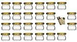 """gouveo Set di 48 vasetti """"Mini"""" 30 ml con chiusura girevole TO 43 dorato , vasetti di stoccaggio, vassoi di marmellata, conservazione vasetti, vasi di spezia, vasi invertenti"""
