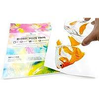 10 x A4 VINYL LASER Printable Waterproof Sheets (PVC) White Glossy Self Adhesive Sticker Sheets Quality - FBA S & L