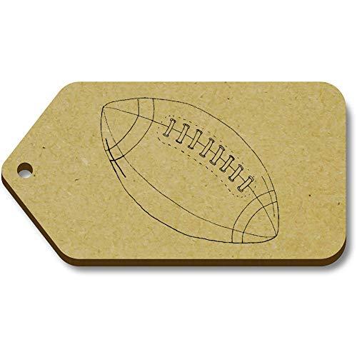 Azeeda 10 x 'Rugby Ball' 66mm x 34mm Hölzerne Tags (TG00086275) - 66 Rugby