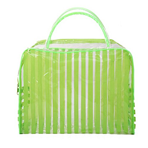 Lot de 4 Stripe PVC vert Sac étanche Wash Cosmetic Pouch