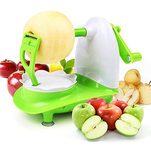 JKYQ Fruchtschäler Hand schütteln Edelstahl Apple Peeler Multifunktions-Birne Mango Kiwi Peeler Corer Set mit 8-Klinge-Apple Slicer, Home Küche Portable Gürtel grün 210×130.5×160mm (Fruit Peeler-bar)