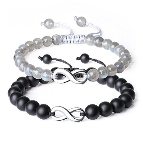 COAI® Edelstein Onyx Labradorit Ewig Zeichen Zubehör EIN Paar Freundschaftsarmbänder Partner Armbänder für Damen und Herren