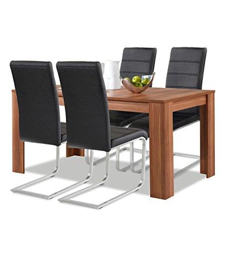 agionda® Esstisch + Stuhlset : 1 x Esstisch Toledo Nussbaum 120 x 80 + 4 Freischwinger schwarz -