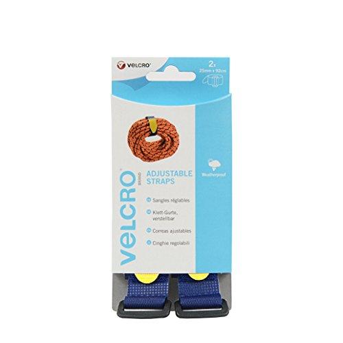 VELCRO - 2 verstellbäre Klettgurte (B x L) 25mm x 92 cm blau (Klettverschluss-riemen Sichere)