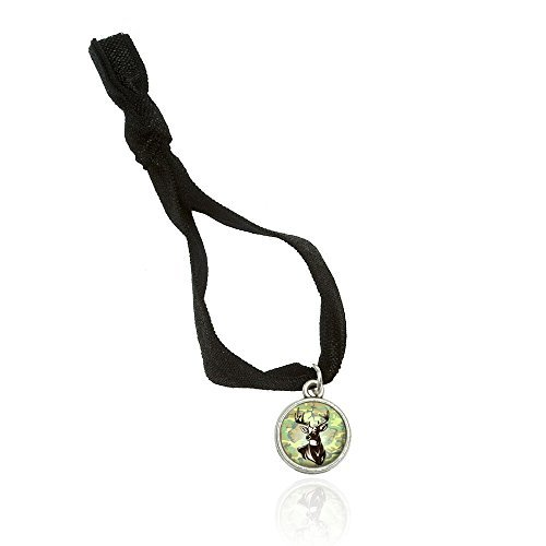 Deer Hunting Green Camouflage Bracelet Double Fold Over Stretchy Elastic No Crease Hair Tie With Charm
