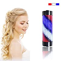 SHOW-WF 9W Barber Shop Pole Semicylindrical, Waterproof Energy Saving High Brightness LED Rotating Illuminated Stripes Salon Hair Barber Shop Sign,Noremote,65x15cm