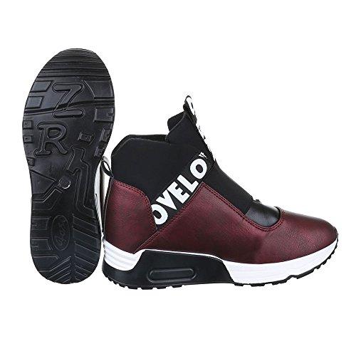 High-Top Sneaker Damen Schuhe High-Top Keilabsatz/ Wedge Sneakers Ital-Design Freizeitschuhe Bordeaux