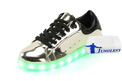 (+Petite serviette)Lumières LED colorées brillent et les chaussures argent nouveau chaussures de sport USB mâle et femelle lumineux chaussu c1