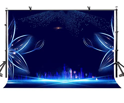 Metropole Ein Licht (GzHQ 7x5ft Dunkelblauer Hintergrund Metropole Blaue Blume Licht Fotografie Hintergrund Fotostudio Fotografie Hintergrund Requisiten LYK042)